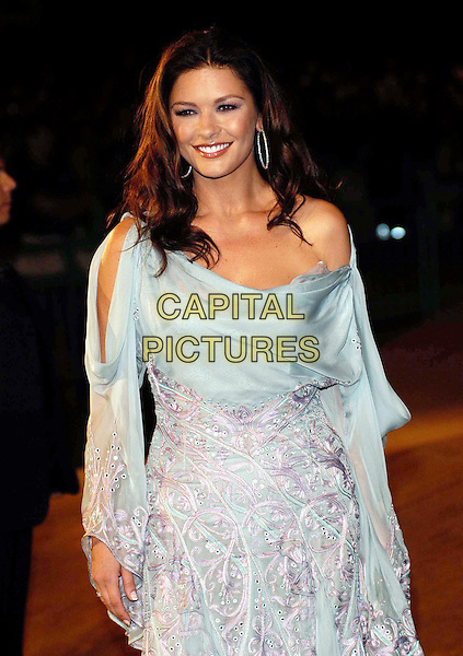 CATHERINE ZETA-JONES.Venice Film Festival.half length, half-length, off the shoulder, light blue dress, layers, ruffles, flowing.www.capitalpictures.com.sales@capitalpictures.com.©Capital Pictures