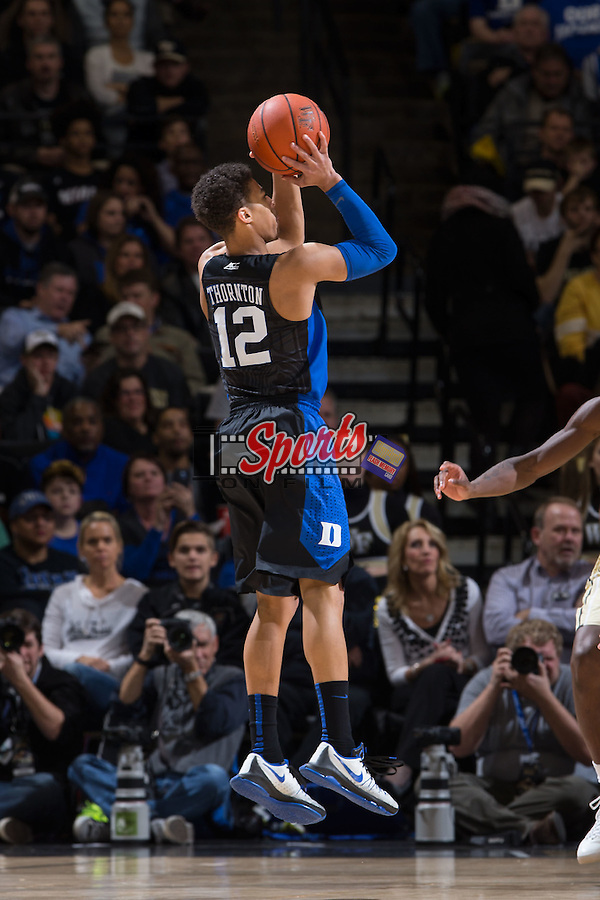 Derryck Thornton (12) of the Duke Blue Devils attempts a jump shot during second half action against the Wake Forest Demon Deacons at the LJVM Coliseum on January 6, 2016 in Winston-Salem, North Carolina.  The Blue Devils defeated the Demon Deacons 91-75.  (Brian Westerholt/Sports On Film)