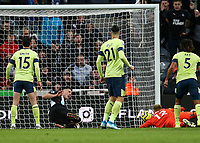9th November 2019; St James Park, Newcastle, Tyne and Wear, England; English Premier League Football, Newcastle United versus AFC Bournemouth; Ciaran Clark of Newcastle United beats Aaron Ramsdale of AFC Bournemouth to score in the 52nd minute to make it 2-1 - Strictly Editorial Use Only. No use with unauthorized audio, video, data, fixture lists, club/league logos or 'live' services. Online in-match use limited to 120 images, no video emulation. No use in betting, games or single club/league/player publications
