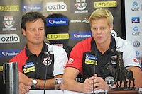 St Kilda coach Scott Watters and captain Nick Riewoldt talk to the media during the St Kilda Saints v Sydney Swans press conference at the Aotea Lounge, Westpac Stadium, Wellington, New Zealand on Wednesday, 24 May 2013. Photo: Dave Lintott / lintottphoto.co.nz