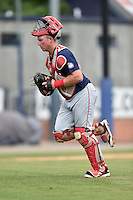 Hagerstown Suns catcher Jakson Reetz (21) leaves the mound during a game against the Asheville Tourists at McCormick Field on September 5, 2016 in Asheville, North Carolina. The Suns defeated the Tourists 9-5. (Tony Farlow/Four Seam Images)