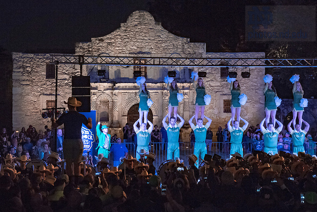 November 11, 2016; Band concert at The Alamo the night before the 2016 Shamrock Series game. (Photo by Matt Cashore/University of Notre Dame)