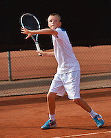 August 6, 2014, Netherlands, Rotterdam, TV Victoria, Tennis, National Junior Championships, NJK, Frank Jonker (NED) <br /> Photo: Tennisimages/Henk Koster