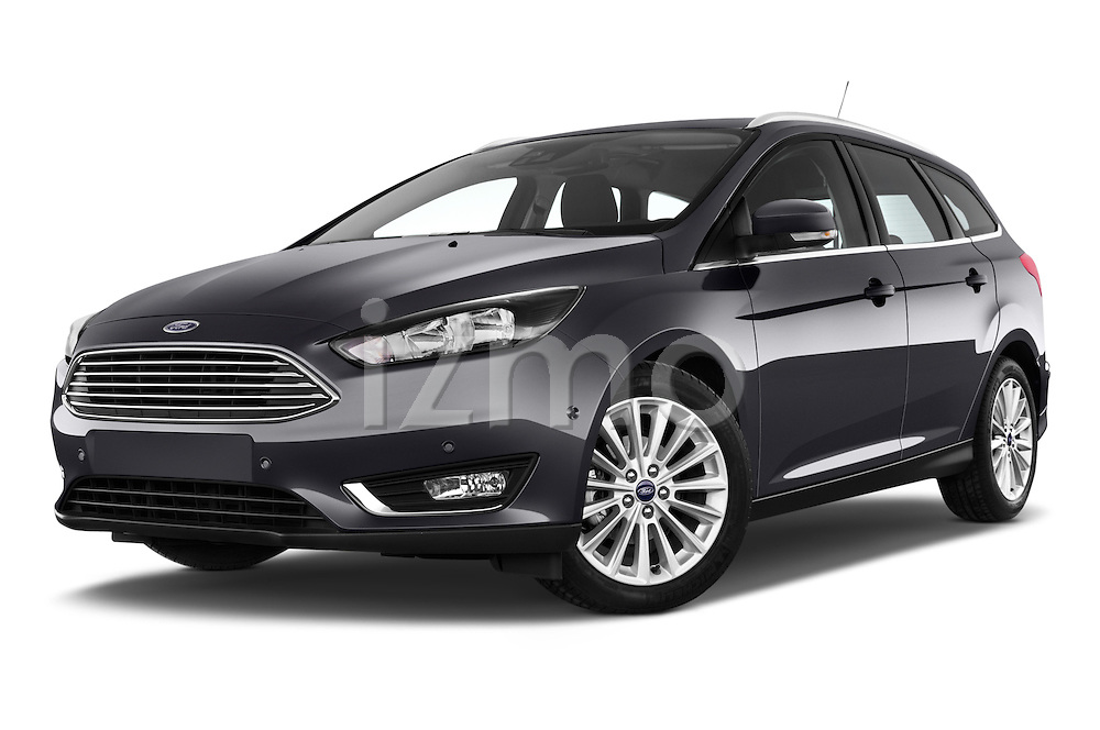 Stock pictures of low aggressive front three quarter view of a 2015 Ford Focus Titanium 5 Door Wagon Low Aggressive