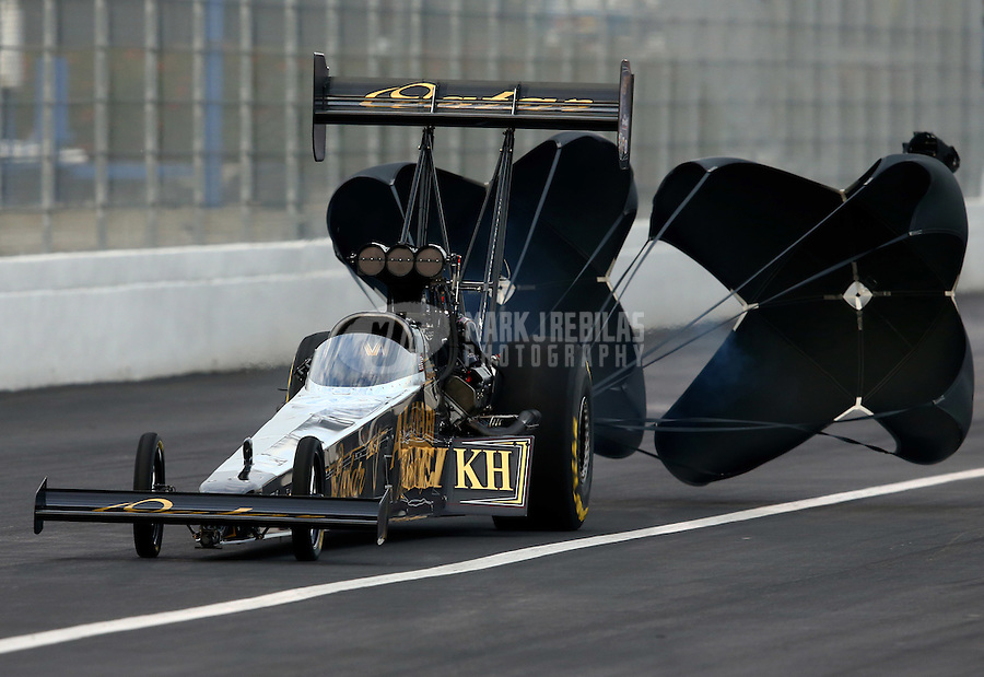 Feb 8, 2014; Pomona, CA, USA; NHRA top fuel dragster driver Khalid Albalooshi during qualifying for the Winternationals at Auto Club Raceway at Pomona. Mandatory Credit: Mark J. Rebilas-