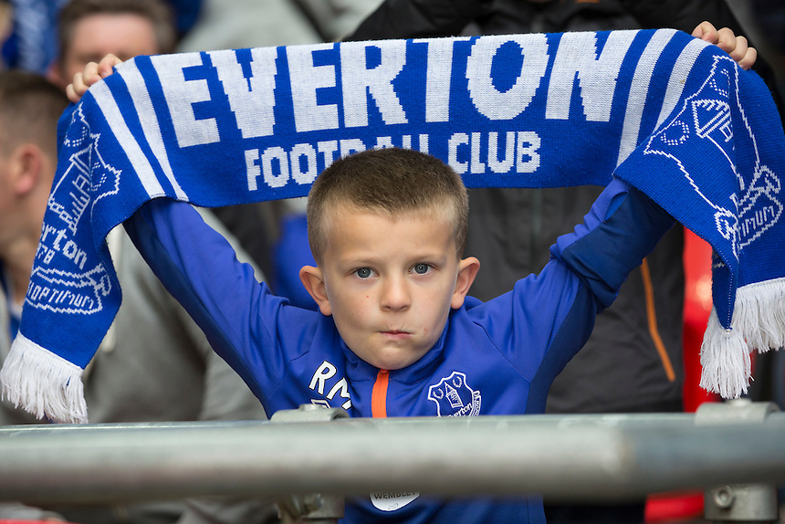 A young Everton fan before kick<br /> <br /> Photographer Craig Mercer/CameraSport<br /> <br /> Football - The FA Cup Semi Final - Everton v Manchester United - Saturday 23rd April 2016 - Wembley - London<br /> <br /> &copy; CameraSport - 43 Linden Ave. Countesthorpe. Leicester. England. LE8 5PG - Tel: +44 (0) 116 277 4147 - admin@camerasport.com - www.camerasport.com