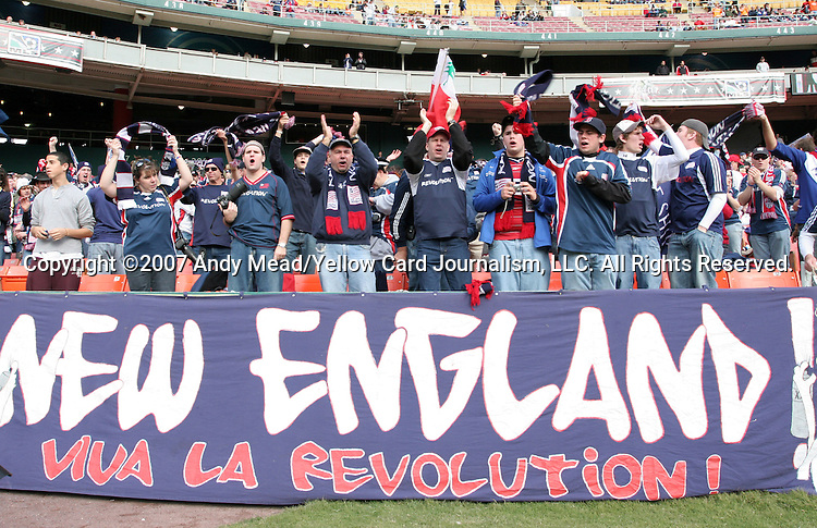 18 November 2007: New England fans. The Houston Dynamo defeated the New England Revolution 2-1 at RFK Stadium in Washington, DC in MLS Cup 2007, Major League Soccer's championship game.