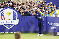 Tyrrell Hatton (Team Europe) on the on the 9th during the friday fourballs at the Ryder Cup, Le Golf National, Iles-de-France, France. 27/09/2018.<br /> Picture Fran Caffrey / Golffile.ie<br /> <br /> All photo usage must carry mandatory copyright credit (© Golffile | Fran Caffrey)
