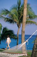 """Iles Bahamas / New Providence et Paradise Island / Nassau: hamac et palmier face à l'océan dansle parc de l'hotel """"One & Only Océan Club"""""""