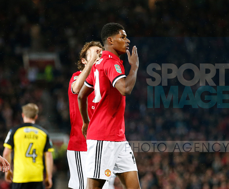 Marcus Rashford of Manchester United celebrates scoring the second goal during the Carabao Cup Third Round match at the Old Trafford Stadium, Manchester. Picture date 20th September 2017. Picture credit should read: Simon Bellis/Sportimage