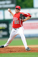 Lowell Spinners pitcher Taylor Grover #22 during a game versus the Hudson Valley Renegades at LeLacheur Park in Lowell, Massachusetts on August 18, 2013.  (Ken Babbitt/Four Seam Images)