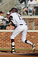 Texas A&M Aggie third baseman Matt Juengel #17 attempts to bunt during the NCAA Tournament Regional baseball game against the Dayton Flyers on June 1, 2012 at Blue Bell Park in College Station, Texas. The Aggies defeated the Flyers 4-1. (Andrew Woolley/Four Seam Images).