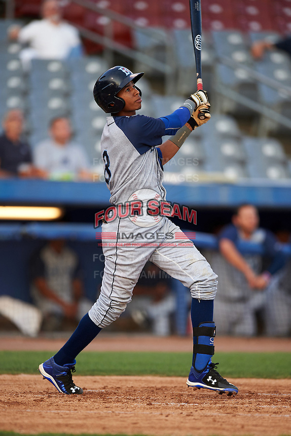 Brooklyn Cyclones shortstop Alfredo Reyes (8) at bat during the first game of a doubleheader against the Connecticut Tigers on September 2, 2015 at Senator Thomas J. Dodd Memorial Stadium in Norwich, Connecticut.  Brooklyn defeated Connecticut 7-1.  (Mike Janes/Four Seam Images)