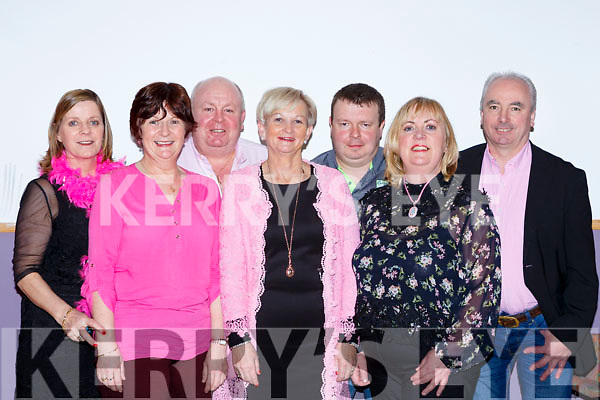 Maggie McAulliffe, Ann McCarthy, Jody McDonald, Anne Wrenn, John Dineen, Mags Campbell and Mike Scannell at the Pink Night Womens Christmas in Kilcummin on Saturday night