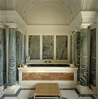 The height of Edwardian opulence: a silver bath in an Italian marble setting