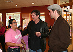 "Guiding Light's Frank Dicopoulos ""Frank Cooper"" and Daniel Cosgrove ""Billy Lewis"" chat with a volunteer as they donated their time for Young Women's Breast Cancer Awareness Foundation by going to Pittsburgh, PA on October 7, 2008 and went Pink with Panera. They visited three of 27 Panera Bread locations during the day where 100% of sales from their Pink Ribbon bagels went to the foundation and a portion of those sales all during the month of October. For more information go to www.breastcancerbenefit.org. The day started out with Star 100.7 and the hosts Kate and JR interviewed Frank Dicopoulos. The two actors then went to the CBS studio in Pittsburgh in the morning. The day was a great hit. (Photo by Sue Coflin/Max Photos)"