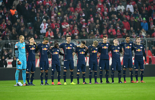 21.12.2016. Alliance Arena, Munich, Germany. Bundesliga football. Bayern Munich versus Leipzig.  Leipzig players during a minute's silence to remember the victims of the Berlin terror attack in the stadium before the German Bundesliga match
