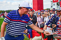 Phil Mickelson (USA) shares a laugh with a fan during the practice round at the Ryder Cup, Hazeltine National Golf Club, Chaska, Minnesota, USA.  9/29/2016<br /> Picture: Golffile | Ken Murray<br /> <br /> <br /> All photo usage must carry mandatory copyright credit (&copy; Golffile | Ken Murray)
