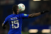 10th January 2018, Stamford Bridge, London, England; Carabao Cup football, semi final, 1st leg, Chelsea versus Arsenal; Carabao Cup badge on Victor Moses of Chelsea shirt as he controls the ball