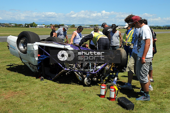 Wakefield racer Avon Compton crashes during the NDRA Southern Drag Racing Nationals. Motueka Airport, Motueka, Nelson, New Zealand. Saturday 1 February 2014. Photo: Chris Symes/www.shuttersport.co.nz