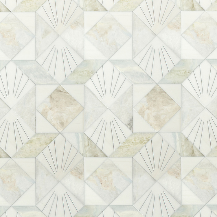 Lawrence, a waterjet stone mosaic, shown in honed Dolomite and Azure, is part of the Bright Young Things™ collection by New Ravenna.