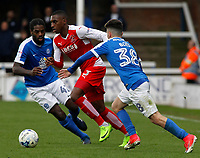 Fleetwood Town's Amari'i Bell gets in between Peterborough United's Anthony Grant &amp; Andrea Borg<br /> <br /> Photographer David Shipman/CameraSport<br /> <br /> The EFL Sky Bet League One - Peterborough United v Fleetwood Town - Friday 14th April 2016 - ABAX Stadium  - Peterborough<br /> <br /> World Copyright &copy; 2017 CameraSport. All rights reserved. 43 Linden Ave. Countesthorpe. Leicester. England. LE8 5PG - Tel: +44 (0) 116 277 4147 - admin@camerasport.com - www.camerasport.com