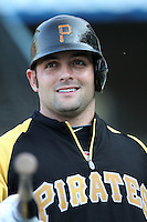 Pittsburgh Pirates catcher Michael McKenry #55 before a game against the Los Angeles Dodgers at Dodger Stadium on September 17, 2011 in Los Angeles,California. Los Angeles defeated Pittsburgh 6-1.(Larry Goren/Four Seam Images)