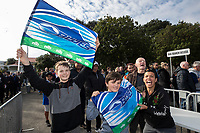 14th June 2020, Aukland, New Zealand;  Blues fans before the Investec Super Rugby Aotearoa match, between the Blues and Hurricanes held at Eden Park, Auckland, New Zealand.