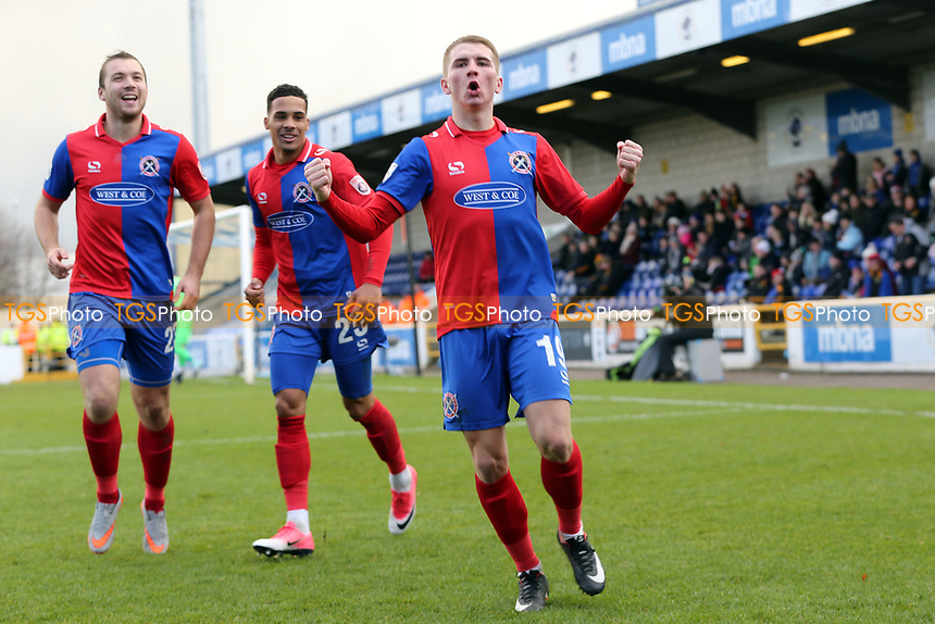Sam Ling of Dagenham celebrates scoring the opening goal during Chester vs Dagenham & Redbridge, Vanarama National League Football at the Lookers Vauxhall Stadium on 25th November 2017