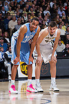 Brice Johnson (11) of the North Carolina Tar Heels and Dinos Mitoglou (44) of the Wake Forest Demon Deacons during first half action at the LJVM Coliseum on January 21, 2015 in Winston-Salem, North Carolina.  The Tar Heels defeated the Demon Deacons 87-71.  (Brian Westerholt/Sports On Film)
