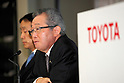 Takahiko Ijichi Executive Vice President of Toyota Motor Corporation (TMC) speaks during a press conference on November 8, 2016, in Tokyo, Japan. Ijichi said that despite cost reduction and marketing efforts, operating income dropped by 466.5 billion yen compared to the first half of the last fiscal year mainly as a result of currency fluctuations. Toyota reported a total of 4,363,537 vehicles sold worldwide for the period April-September 2016, up 85,530 units compared to the same period in the previous year.(Photo by Rodrigo Reyes Marin/AFLO)