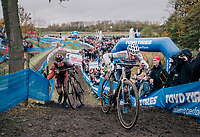 Mathieu van der Poel (NED/Corendon-Circus) just ahead of Laurens Sweeck (BEL/Pauwels Sauzen Vastgoedservice)<br /> <br /> men's race<br /> Soudal Jaarmarktcross Niel 2018 (BEL)
