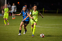 Kansas City, MO - Saturday June 17, 2017: Erika Tymrak, Lauren Barnes during a regular season National Women's Soccer League (NWSL) match between FC Kansas City and the Seattle Reign FC at Children's Mercy Victory Field.