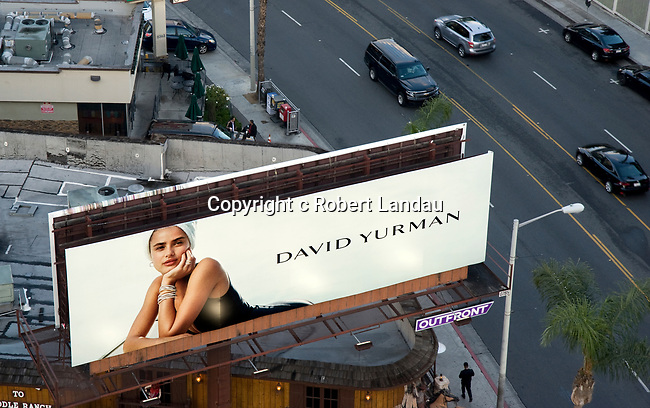 Aerial view of a fashion billboard on the Sunset Strip