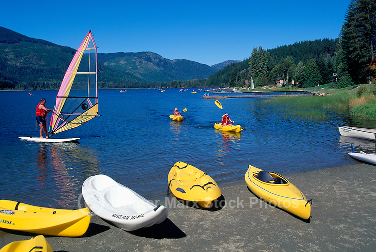 Whistler, BC, British Columbia, Canada - Kayaking and Windsurfing on Alta Lake, Summer