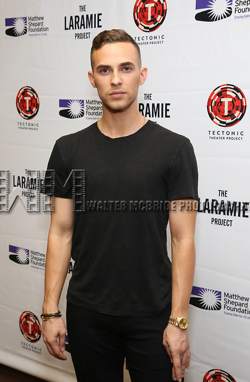 """Adam Rippon attends the cast photo call for """"Laramie: A Legacy""""  on September 24, 2018 at The Gerald W. Lynch Theater at John Jay College in New York City."""