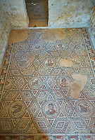Wide picture of the Roman mosaics of The Four Seasons, room no 23 at the Villa Romana del Casale, first quarter of the 4th century AD. Sicily, Italy. A UNESCO World Heritage Site.
