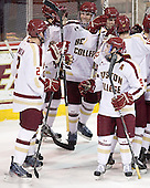 Brian Dumoulin (BC - 2), Patrick Wey (BC - 6), Chris Kreider (BC - 19), Barry Almeida (BC - 9) - The Boston College Eagles defeated the University of Massachusetts-Amherst Minutemen 3-2 to take their Hockey East Quarterfinal matchup in two games on Saturday, March 10, 2012, at Kelley Rink in Conte Forum in Chestnut Hill, Massachusetts.