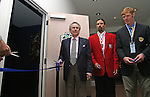 27 August 2006: MLS investor and 2006 Hall of Fame inductee Philip Anschutz, Hall of Famer Marcelo Balboa, and 2006 inductee Alexi Lalas are on hand for the ribbon cutting ceremony for a new exhibit at the Hall of Fame commemorating the first ten years of the league's history. The President's Reception and Dinner were held at the National Soccer Hall of Fame in Oneonta, New York the evening before the 2006 Induction Ceremony.