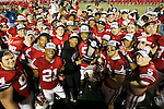 Wisconsin Badgers pose with the Leaders Division Trophy after an NCAA Big Ten Conference college football game against the Penn State Nittany Lions on November 26, 2011 in Madison, Wisconsin. The Badgers won 45-7. (Photo by David Stluka)