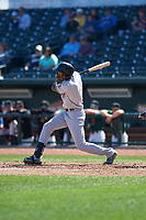 Wisconsin Timber Rattlers Je'Von Ward (4) at bat during a Midwest League game against the Great Lakes Loons at Dow Diamond on May 4, 2019 in Midland, Michigan. Great Lakes defeated Wisconsin 5-1. (Zachary Lucy/Four Seam Images)