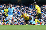 Vincent Kompany of Manchester City tackles Ciaran Clark of Aston Villa - Barclay's Premier League - Manchester City vs Aston Villa - Etihad Stadium - Manchester - 05/03/2016 Pic Philip Oldham/SportImage