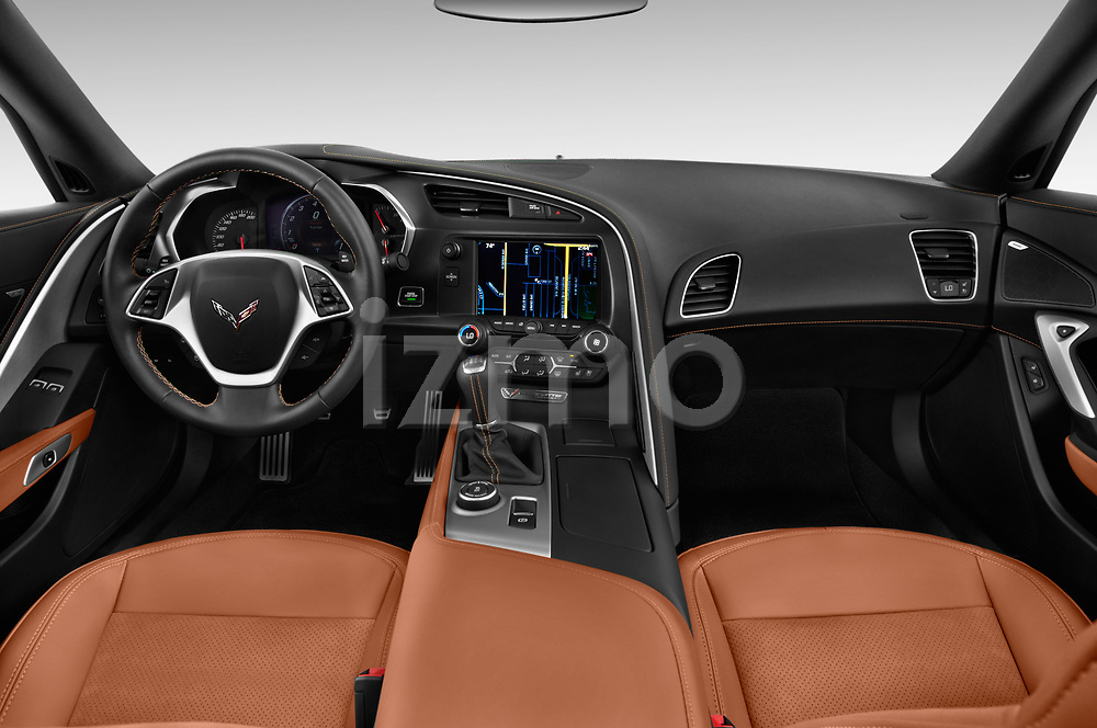 Stock photo of straight dashboard view of a 2019 Chevrolet Corvette Stingray Coupe 2LT 3 Door Targa