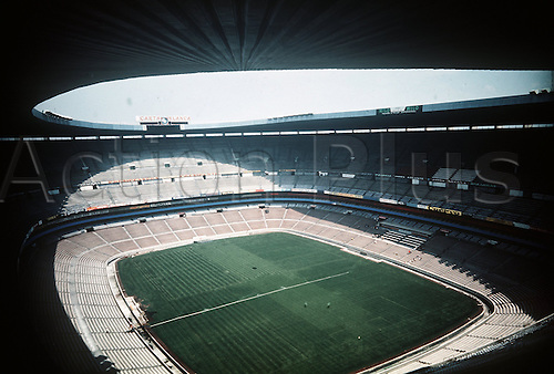 An interior view of the empty Aztec Stadium in Mexico City, Mexico,  The stadium was built in 1967 and inaugurated  for the Summer Olympics in Mexico in 1968. The venue has a capacity of seating 108,500 spectators across one lower level and two upper levels. The 'Estadio Azteka' was the site of various World Cup games and the World Cup finals in 1970 and 1986.