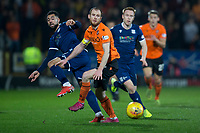 27th December 2019; Dens Park, Dundee, Scotland; Scottish Championship Football, Dundee Football Club versus Dundee United; Kane Hemmings of Dundee challenges for the ball with Mark Reynolds of Dundee United  - Editorial Use