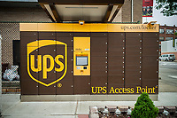 A UPS Access Point pick-up station in outside of a gas station in the Greenpoint neighborhood of New York on Sunday, June 4, 2017. The lockers enable customers, who work and do not have doorman or another party, to receive their purchase in a secure location. Amazon has had a similar network of lockers for several years. (© Richard B. Levine)