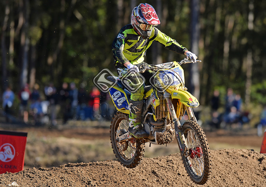 Levi McManus / Suzuki<br /> MX Nationals / Round 6 / MXD<br /> Australian Motocross Championships<br /> Raymond Terrace NSW<br /> Sunday 5 July 2015<br /> &copy; Sport the library / Jeff Crow