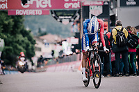 Thibaut Pinot (FRA/Groupama-FDJ) crossing the finish line<br /> <br /> stage 16: Trento &ndash; Rovereto iTT (34.2 km)<br /> 101th Giro d'Italia 2018