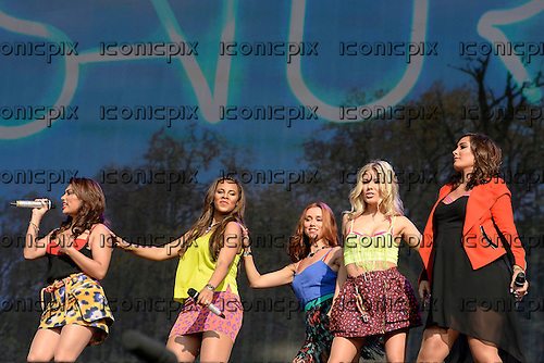 The Saturdays - L-R: Vanessa White, Rochelle Humes, Una Healy, Mollie King, Frankie Sandford - performing live on the main stage at Barclaycard presents British Summer Time in Hyde Park London UK - 07 Jul 2013.  Photo credit: George Chin/IconicPix