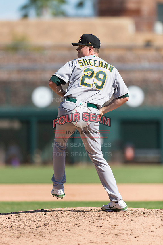 Mesa Solar Sox relief pitcher Sam Sheehan (29), of the Oakland Athletics organization, delivers a pitch during an Arizona Fall League game against the Glendale Desert Dogs at Camelback Ranch on October 15, 2018 in Glendale, Arizona. Mesa defeated Glendale 8-0. (Zachary Lucy/Four Seam Images)